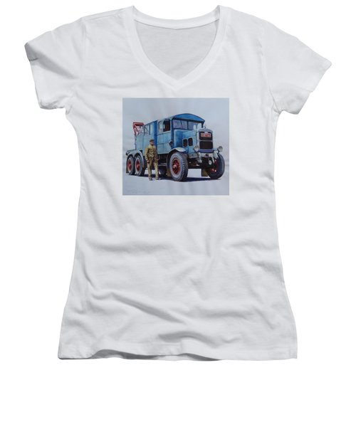 Scammell Wrecker. Women's V-Neck T-Shirt (Junior Cut) by Mike Jeffries
