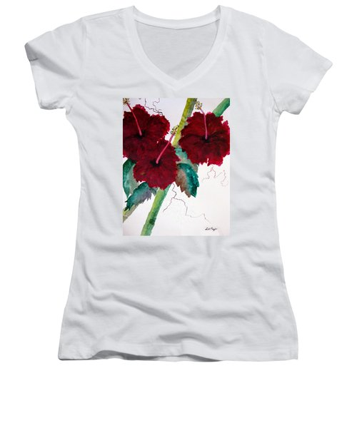 Scarlet Red Women's V-Neck T-Shirt (Junior Cut) by Lil Taylor