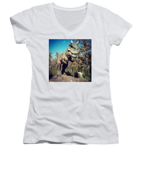 Scary Carnotaurus Women's V-Neck T-Shirt (Junior Cut)