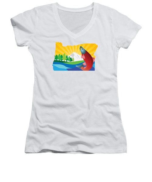 Scenic State Of Oregon Map Women's V-Neck T-Shirt (Junior Cut) by Jit Lim