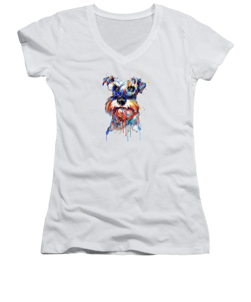 Women's V-Neck T-Shirt (Junior Cut) featuring the mixed media Schnauzer Head by Marian Voicu