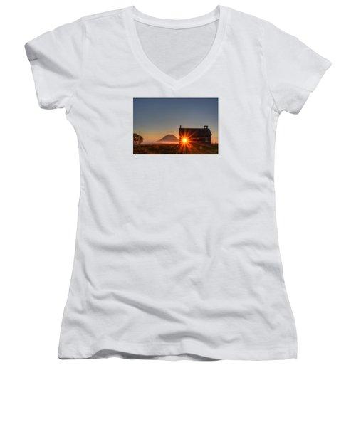 Schoolhouse Sunburst Women's V-Neck T-Shirt (Junior Cut) by Fiskr Larsen