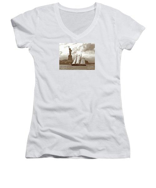 Schooner At Statue Of Liberty Twurl Women's V-Neck T-Shirt (Junior Cut) by Tom Wurl