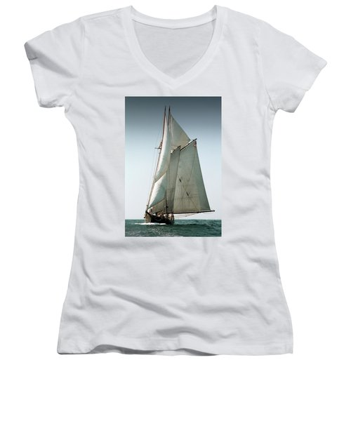Schooner Ernestina Women's V-Neck (Athletic Fit)