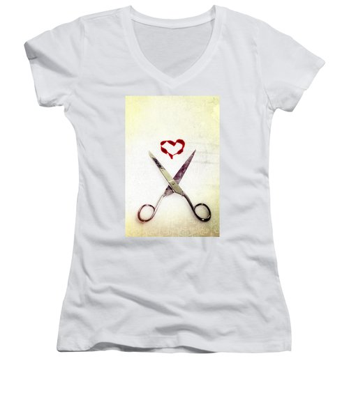 Scissors And Heart Women's V-Neck (Athletic Fit)