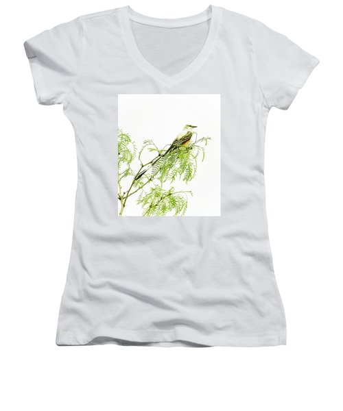 Women's V-Neck T-Shirt (Junior Cut) featuring the photograph Scissortail On Mesquite by Robert Frederick