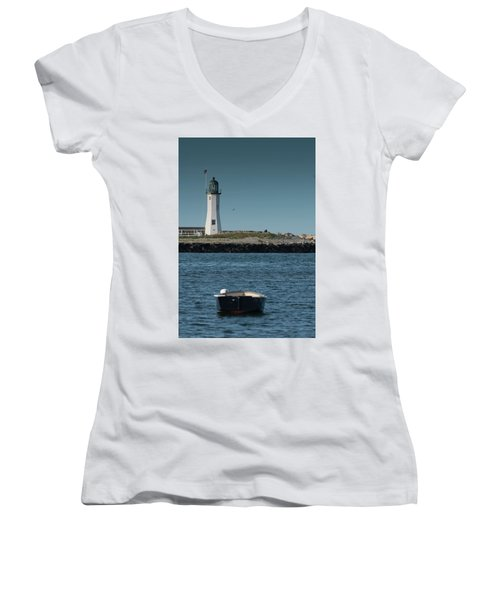 Scituate Lighthouse Women's V-Neck (Athletic Fit)