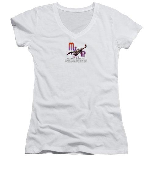 Scorpio Sun Sign Women's V-Neck T-Shirt (Junior Cut) by Shelley Overton