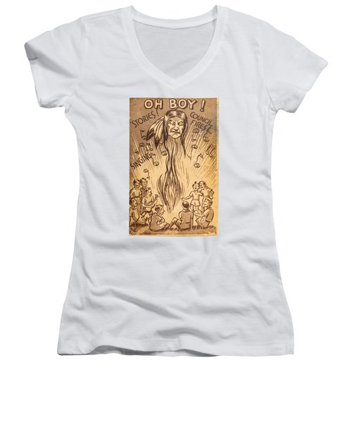 Scouting Postcard 1948 Women's V-Neck T-Shirt