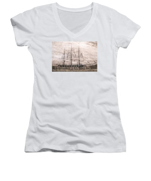 Scrimshaw Whale Panbone Women's V-Neck (Athletic Fit)