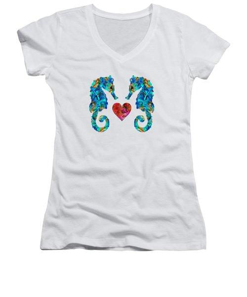 Sea Lovers - Seahorse Beach Art By Sharon Cummings Women's V-Neck T-Shirt (Junior Cut) by Sharon Cummings