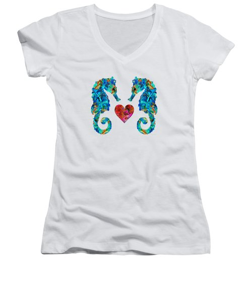 Sea Lovers - Seahorse Beach Art By Sharon Cummings Women's V-Neck (Athletic Fit)