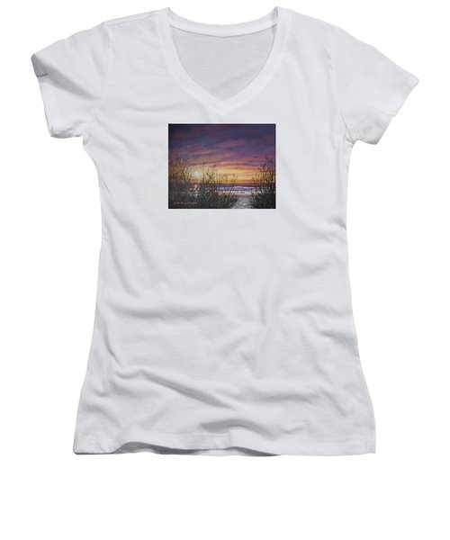 Women's V-Neck T-Shirt (Junior Cut) featuring the painting Sea Oat Sunrise # 3 by Kathleen McDermott