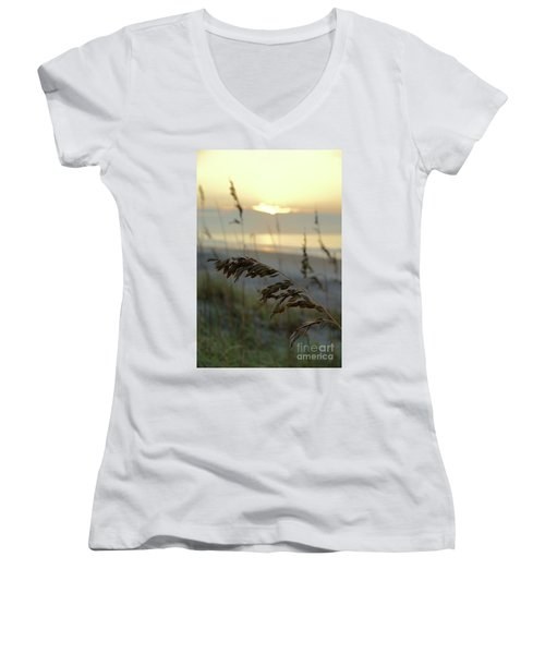 Sea Oats At Sunrise Women's V-Neck (Athletic Fit)