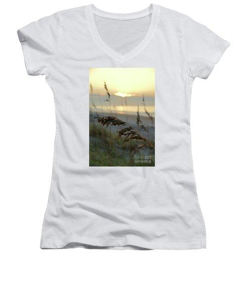 Sea Oats At Sunrise Women's V-Neck