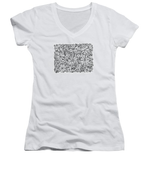 Sea Of Flowers And Seeds At Night Horizontal Women's V-Neck T-Shirt (Junior Cut) by Tamara Kulish