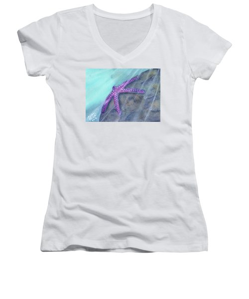 Sea Star Rays Women's V-Neck (Athletic Fit)