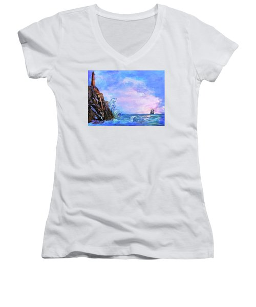 Women's V-Neck T-Shirt (Junior Cut) featuring the painting Sea Stories 2  by Andrzej Szczerski