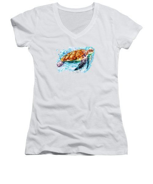 Sea Turtle  Women's V-Neck (Athletic Fit)