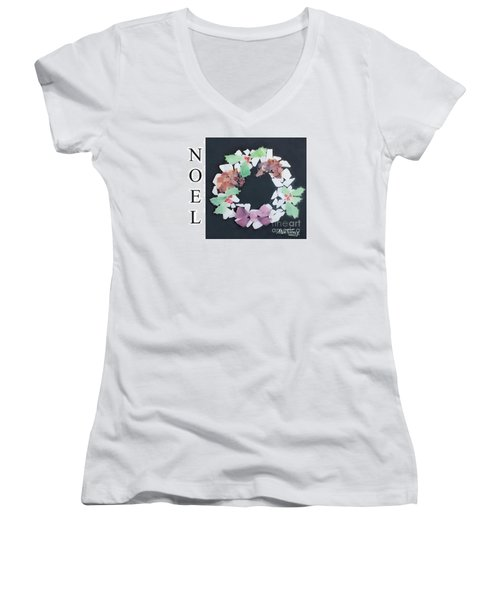 Women's V-Neck T-Shirt (Junior Cut) featuring the painting Seaglass Wreath by Stan Tenney