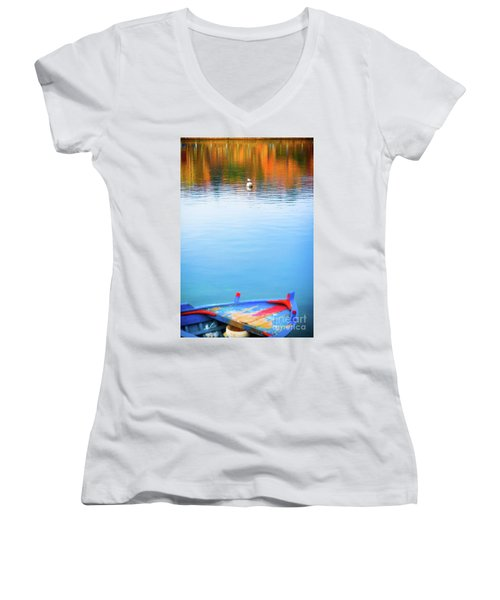Women's V-Neck T-Shirt featuring the photograph Seagull And Boat by Silvia Ganora