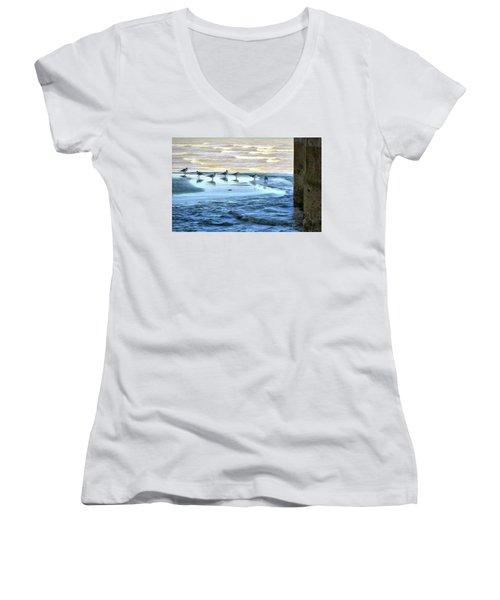 Seagulls At Waters Edge Women's V-Neck T-Shirt (Junior Cut) by Cedric Hampton