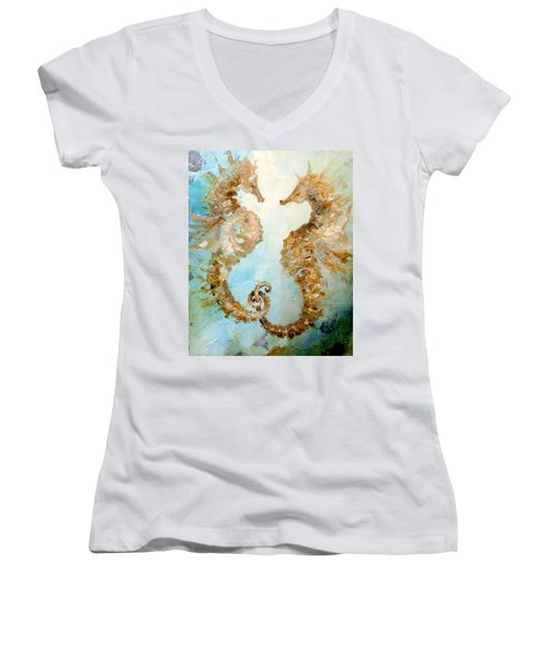 Seahorses In Love 2016 Women's V-Neck T-Shirt (Junior Cut) by Dina Dargo
