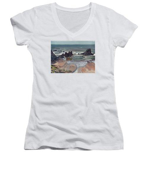 Seal Rock Oregon Women's V-Neck T-Shirt (Junior Cut) by Donald Maier