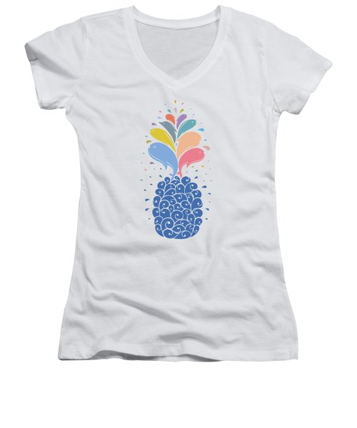 Seapple Women's V-Neck T-Shirt (Junior Cut) by Mustafa Akgul