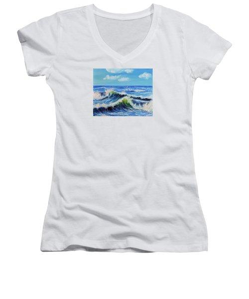 Seascape No.3 Women's V-Neck T-Shirt (Junior Cut) by Teresa Wegrzyn