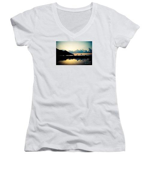 Seascape Sunrise Sea And Clouds  Women's V-Neck