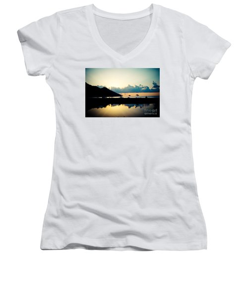 Seascape Sunrise Sea And Clouds  Women's V-Neck