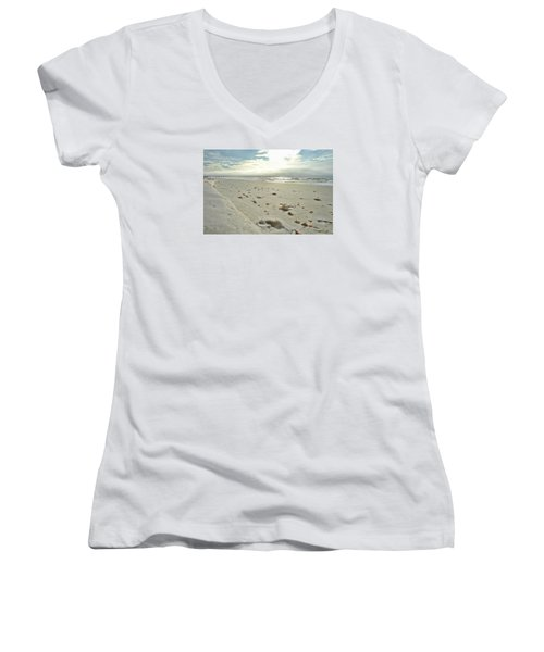 Women's V-Neck T-Shirt (Junior Cut) featuring the photograph Seashells On The Seashore by Renee Hardison