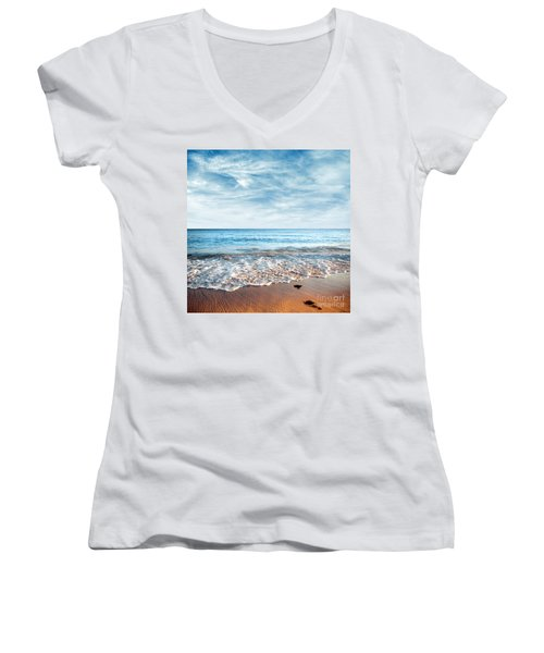 Seashore Women's V-Neck T-Shirt (Junior Cut) by Carlos Caetano