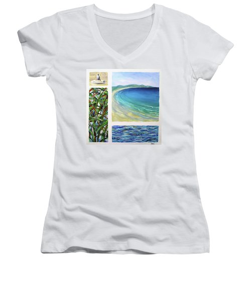 Seaside Memories Women's V-Neck T-Shirt (Junior Cut) by Chris Hobel