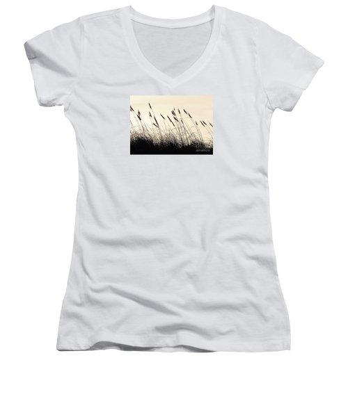 Seaside Oats Women's V-Neck T-Shirt (Junior Cut) by Joy Hardee