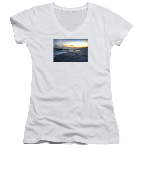 Women's V-Neck T-Shirt (Junior Cut) featuring the photograph Seaside Sunset by Renee Hardison