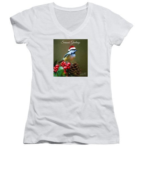 Seasons Greetings Chickadee Women's V-Neck (Athletic Fit)