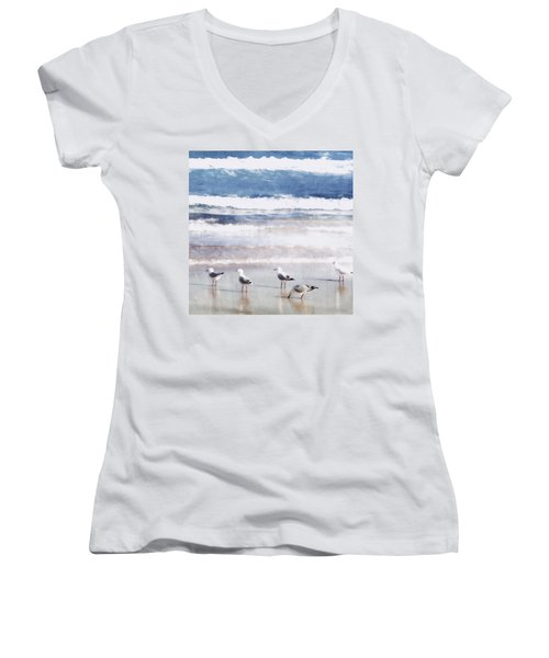 Women's V-Neck T-Shirt (Junior Cut) featuring the photograph Seaspray by Holly Kempe