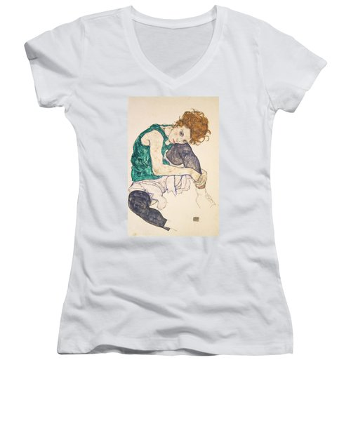 Seated Woman With Legs Drawn Up Women's V-Neck (Athletic Fit)