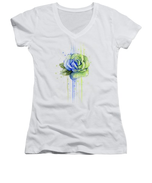 Seattle 12th Man Seahawks Watercolor Rose Women's V-Neck T-Shirt (Junior Cut) by Olga Shvartsur