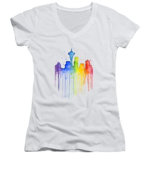 Seattle Rainbow Watercolor Women's V-Neck T-Shirt (Junior Cut) by Olga Shvartsur