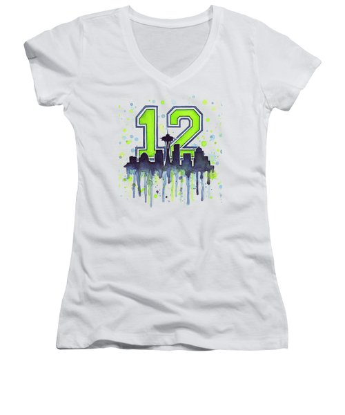 Seattle Seahawks 12th Man Art Women's V-Neck T-Shirt (Junior Cut) by Olga Shvartsur