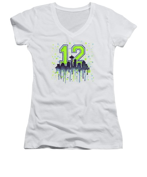 Seattle Seahawks 12th Man Art Women's V-Neck