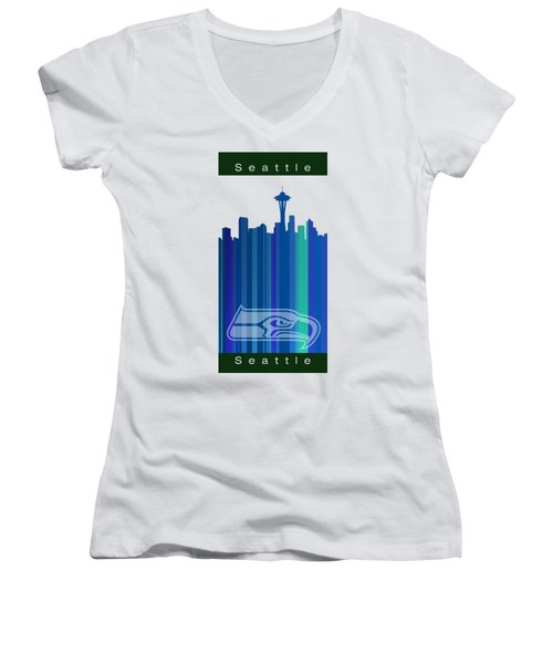 Seattle Sehawks Skyline Women's V-Neck T-Shirt (Junior Cut) by Alberto RuiZ