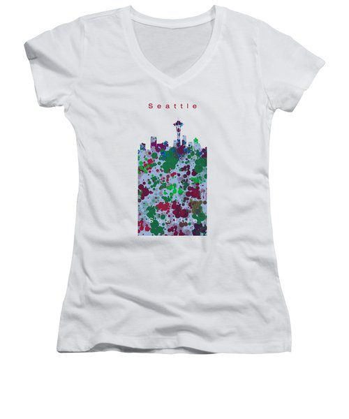 Seattle Skyline .3 Women's V-Neck T-Shirt (Junior Cut) by Alberto RuiZ
