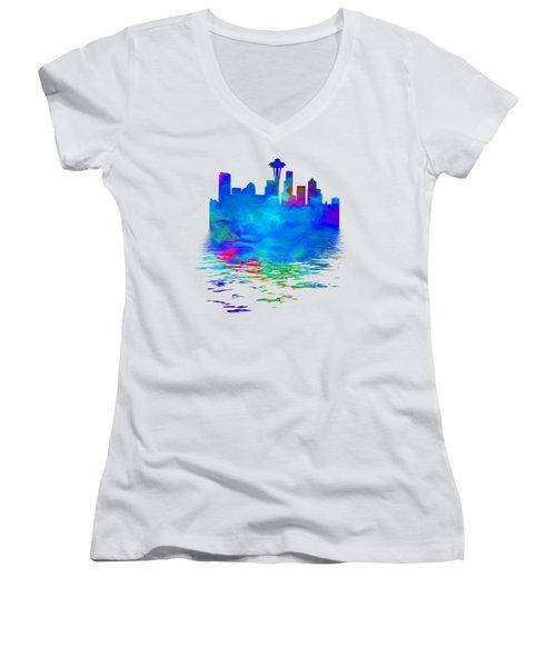 Seattle Skyline, Blue Tones On White Women's V-Neck T-Shirt (Junior Cut) by Pamela Saville