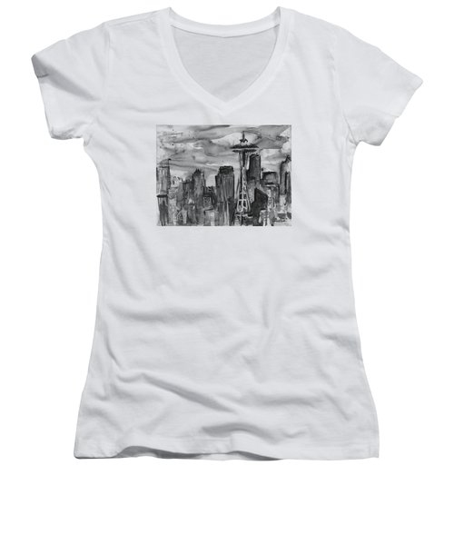 Seattle Skyline Space Needle Women's V-Neck (Athletic Fit)