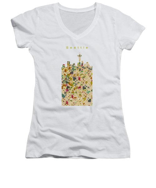 Seattle Skyline.2 Women's V-Neck T-Shirt (Junior Cut) by Alberto RuiZ