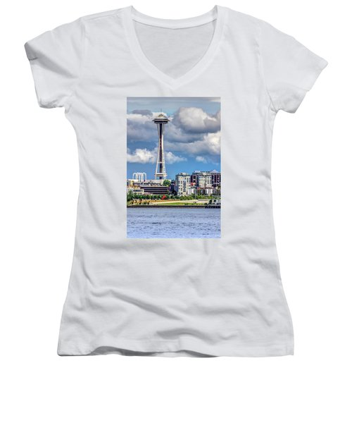Seattle Space Needle Hdr Women's V-Neck